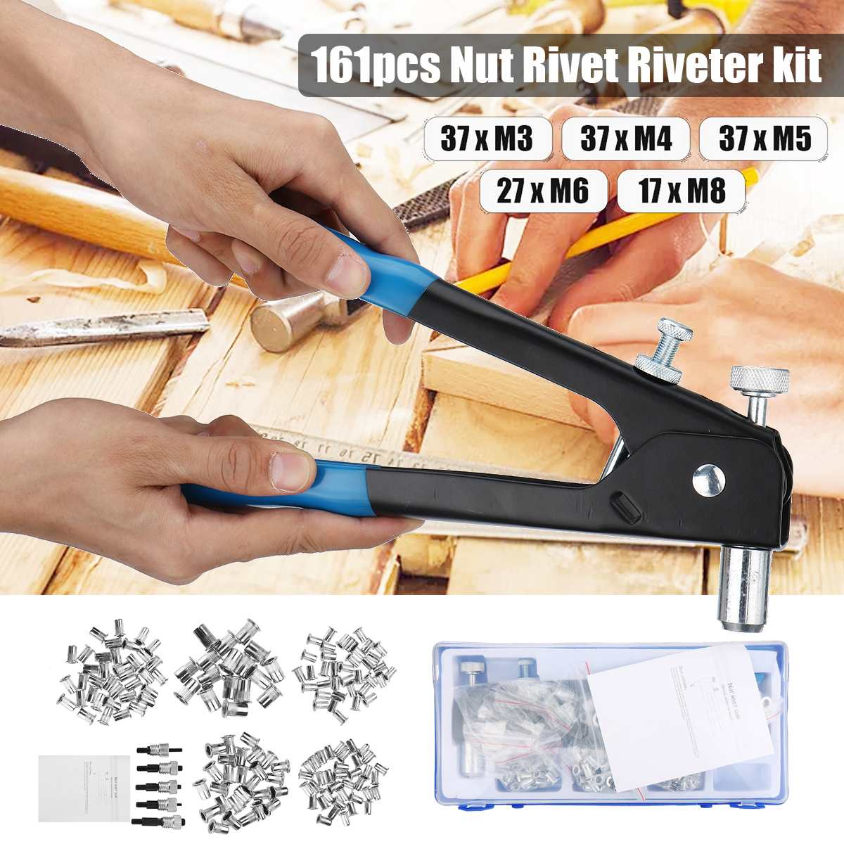 161PCS M3-M8 Blind Hand Rivet Nuts Threaded Insert Rivet Tool Riveter For Gun With Rivnut Nutsert Riveting Kit Repair Tools