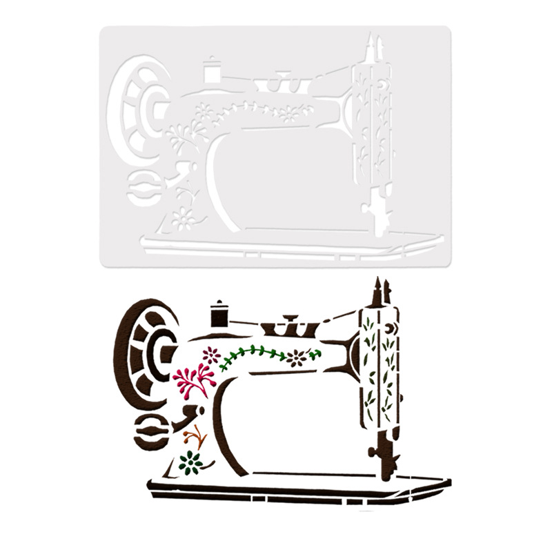 18*26 Sewing Machine  Pvc Layering Stencils For Diy Scrapbook Coloring,painting Stencil,home Decor Diy Etc. Product Image