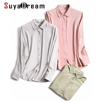 SuyaDream Solid Silk Blouse Women 23mm Silk Crepe Turn Down Collar Blouse Shirt 2020 Autumn Fall Office chic Shirts