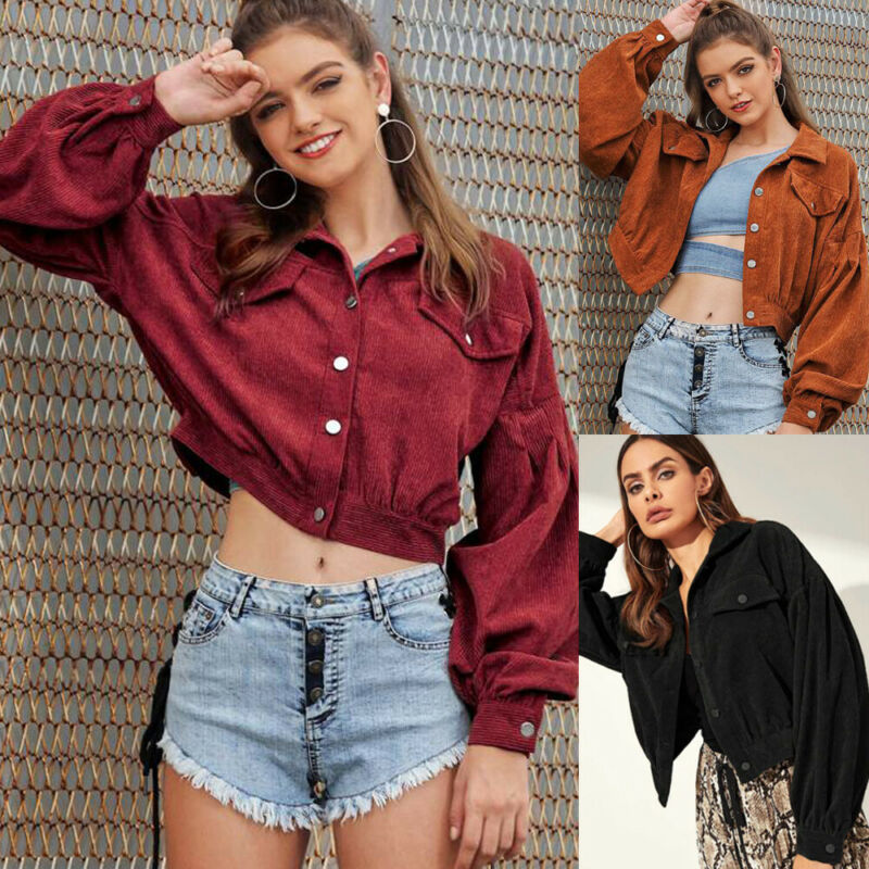 Newest Fashion Women Corduroy Short Jacket Button Pocket Crop Coat Long Puff Sleeve OutWear Top
