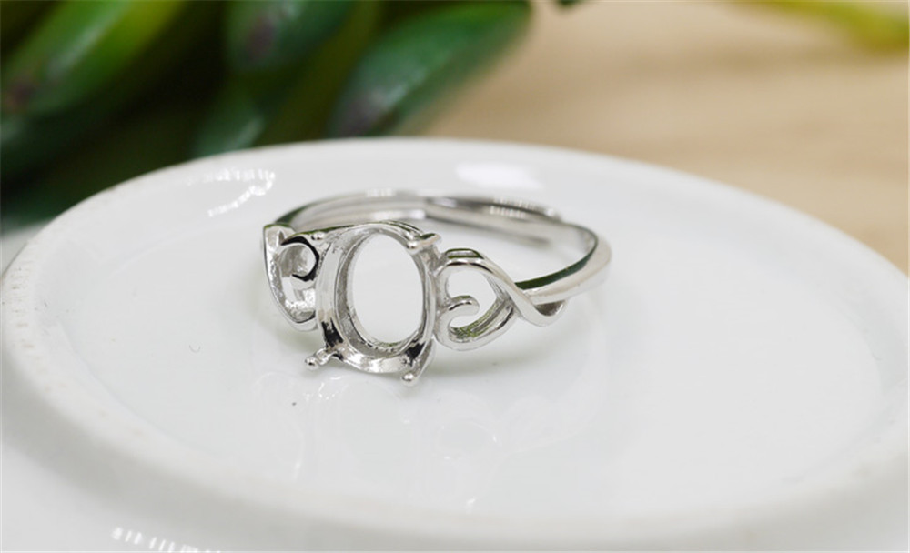 Ring Base for 7x9mm Oval Cabochons White Gold Plated 925 Silver Adjustable Band Ring Blank JZ341