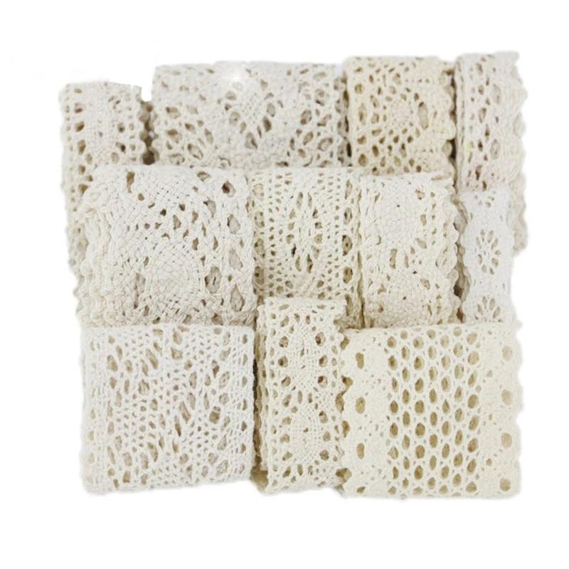 (5 metre/rulo) beyaz bej pamuk işlemeli dantel Net şeritler kumaş süsü DIY dikiş el yapımı el sanatları malzemeleri
