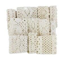 Cinta de red de encaje bordado de algodón, cinta de tejido de costura artesanal, hechos a mano materiales artesanales, color blanco y Beige, 5 metros por rollo