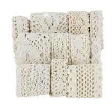 Ruban de dentelle brodée en coton pour couture et travaux manuels, rouleau de 5 mètres, blanc, beige, garniture en tissu