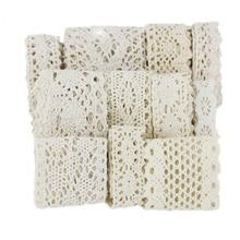 (5M/Cuộn) Sắc Trắng Cotton Thêu Ren Lưới Nơ Vải Viền DIY May Tay Thủ Công Chất Liệu