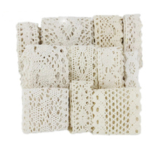 Rubans de dentelle brodés en coton blanc Beige, 5 mètres/rouleau, pour couture, matériel dartisanat fait à la main, bricolage bordure de tissu