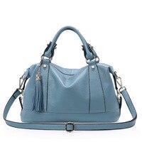 Spring And Summer One Shoulder Layer Cowhide Leather Handbag Women Lady Handbags Inclined Shoulder Bag Handtasche Solid Hand Bag