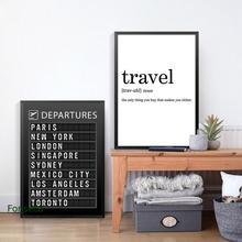 Cartel de la Tabla de Destino de la Junta del aeropuerto impresiones de lona citas de viaje pintura de arte de la pared de luna de miel fotos de viaje decoración del hogar
