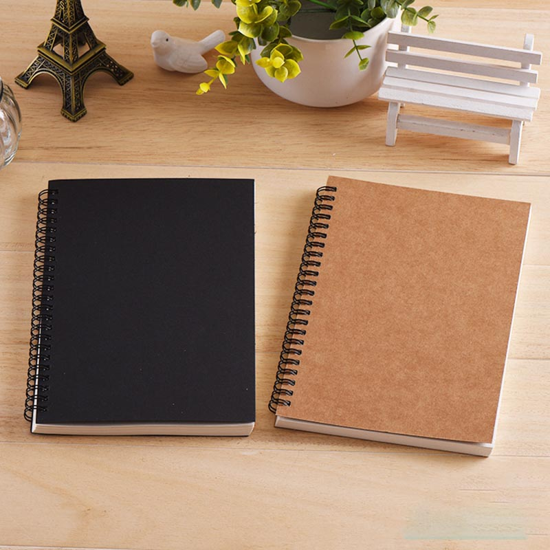 Sketchbook Diary for Drawing Painting Graffiti Soft Cover Black Paper Sketch Book Memo Pad Notebook Office School Supplie