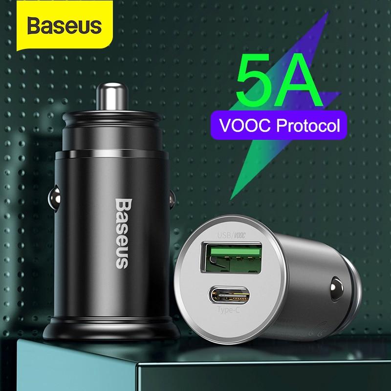 Baseus 30w usb carregador de carro para o telefone móvel adaptador carregador rápido 5a vooc scp afc carga rápida 4.0 pd 3.0 para iphone xiaomi