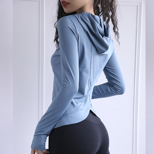Women Back Forked Yoga Shirt Long Sleeve Thumb Hole Running T-shirt Mesh Breathable Sport Hoodies Fitness Top Gym Workout Blouse 5