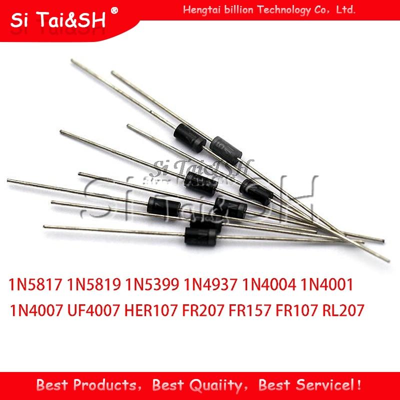 100PCS Schottky Rectifier Diode 1N5817 1N5819 1N5399 1N4937 1N4004 1N4001 1N4007 UF4007 HER107 FR207 FR157 FR107 RL207 DO-41