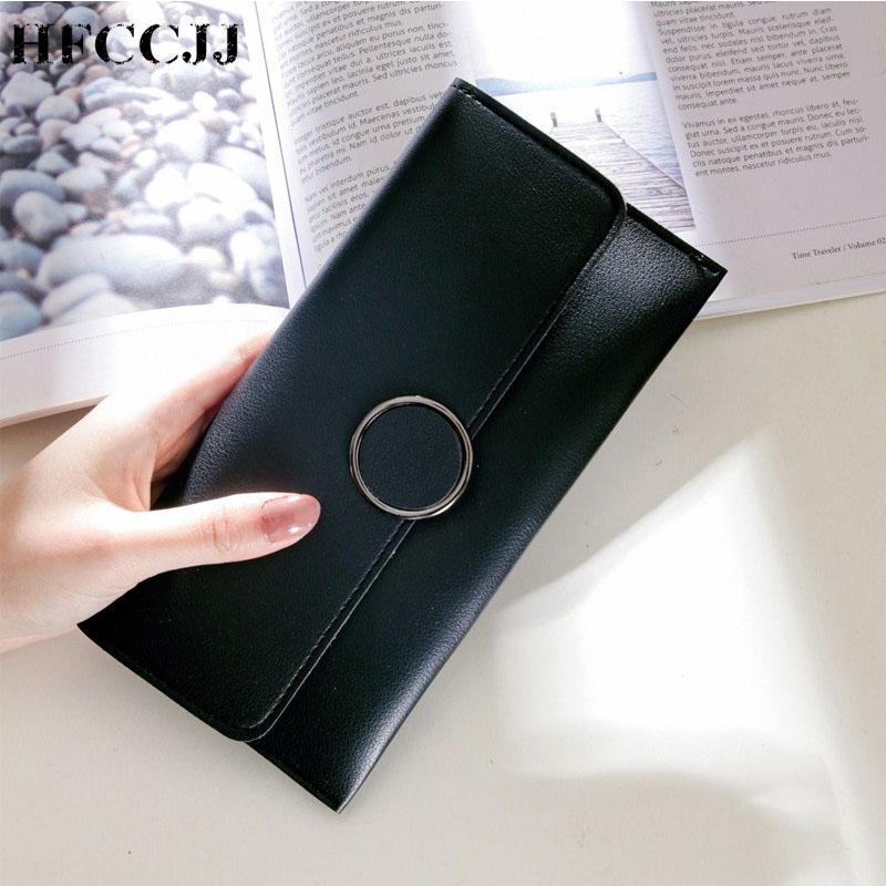 2019 NEW Ring Buckle Wallet Women Long Cute Wallet Leather Women Wallets Design Purse Multifunction Clutch Cartera Mujer HC134