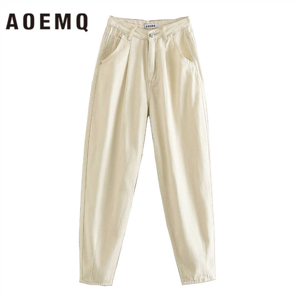 AOEMQ Casual Jeans High Street Einfache England Stil Jeans Beige Farbe Zipper Breasted Taille Jeans Frauen Buttoms für Termin
