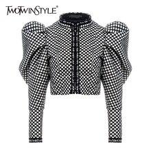 TWOTWINSTYLE клетчатое пальто с рюшами для женщин с круглым вырезом и пышными рукавами короткое Женское пальто уличная Осенняя модная новая одежда