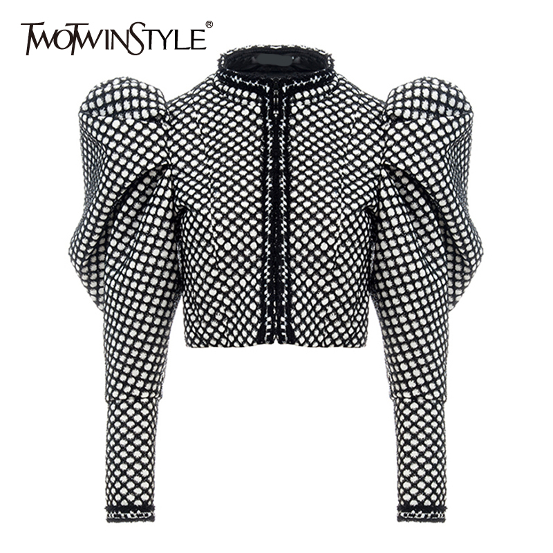 TWOTWINSTYLE Ruched Plaid Coat For Women O Neck Puff Sleeve Short Female Coat Streetwear Autumn Fashion New Clothing 2019