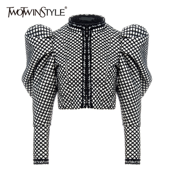 TWOTWINSTYLE Ruched Plaid Coat For Women O Neck Puff Sleeve Short Female Streetwear Autumn Fashion New Clothing 2020 - discount item  54% OFF Coats & Jackets