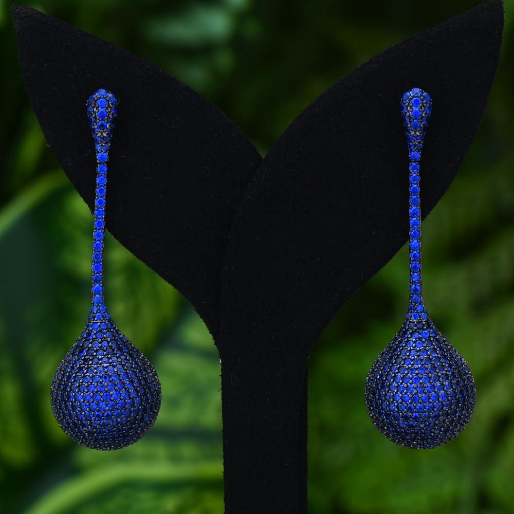 missvikki Luxury Handmade Women Long Ball Dangle Earrings Shiny Cubic Zircon Drop Earring For Bridal Wedding Party Accessories