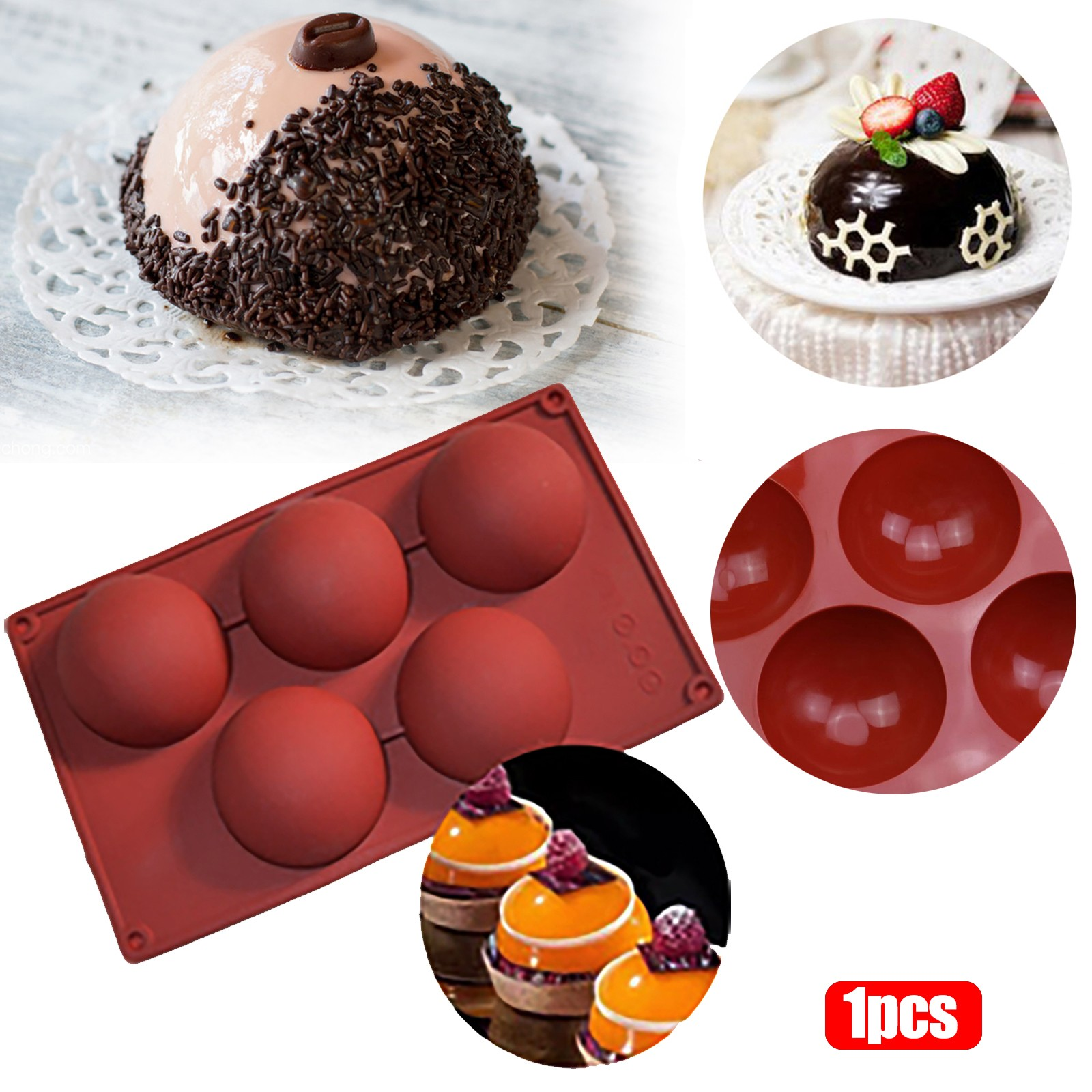Экстра большая 5-полость полусферическая силиконовая форма, 1/2 упаковки формы для выпечки для изготовления шоколада, торта, желе, купола M ^ ...