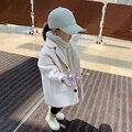 Куртка для девочек, детская осенне-зимняя одежда, детская длинная куртка для маленьких девочек, верхняя одежда, пальто для малышей 90-130, модн...