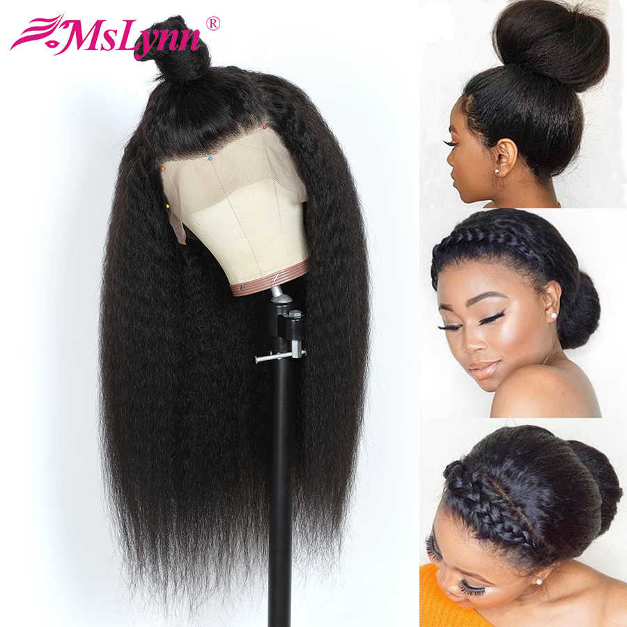 360 Lace Frontal Wig Pre Plucked With Baby Hair Lace Front Human Hair Wigs for Women Mslynn Remy Hair yaki Kinky Straight Wigs