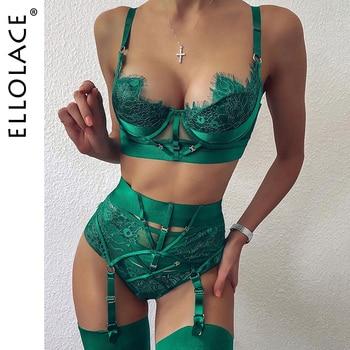 Ellolace Lingerie Sexy Bra Women's Underwear Set Lace Bandage Lingerie Set Sexy Push up Lenceria 3 Piece Set Erotic Lingerie