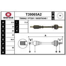 Привод левый 610mm ABS 48\ Peugeot 306 1.6 MA5B 93-02 EAI T39065A2