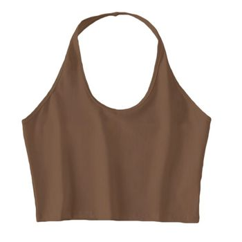 Women Halter Neck Sleeveless Crop Top Sexy Low Cut O Solid Color Cami Tank Vest Backless Bodycon Basic Bralette