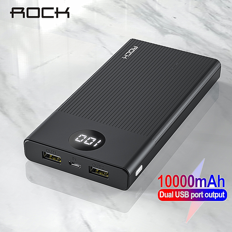 ROCK Power Bank 10000mAh LED Display Portable Charging PowerBank 10000 MAh USB External Battery Charger For Xiaomi Mi 9 8 IPhone