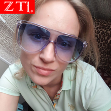 ZT Oversize Flat Top Women Shield Sunglasses Candy Color Fas