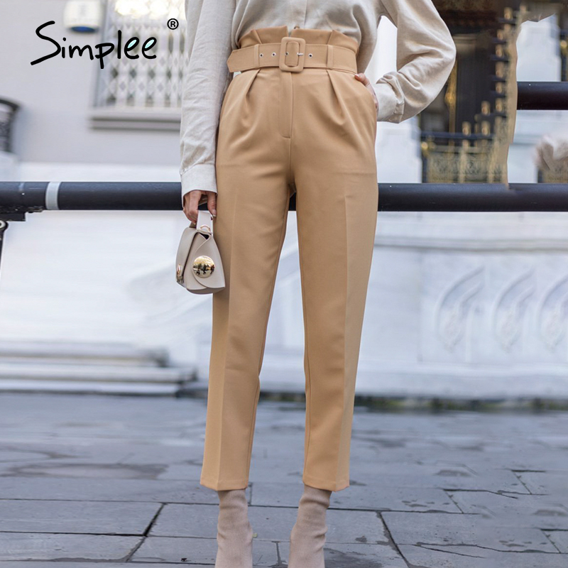 Simplee New fashion women casual pant Autumn high waist ruffled trousers Streetwear sash belt decoration ladies work pants 2020