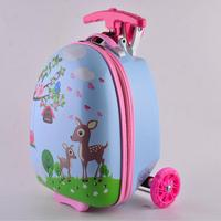 16inches Kids Scooter Luggage Children Cartoon Suitcase With Wheels Skateboard Rolling Luggage Boarding Trolley Case