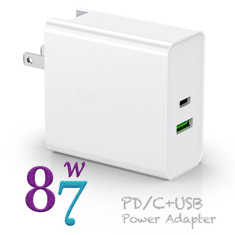 USB-C адаптер питания 87 Вт QC3.0 USB PD3.0 настенное зарядное устройство для MacBook ноутбуков iPhone 11/11pro,US UK EU AU адаптер