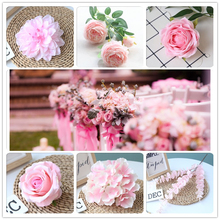 Pink Color Artificial Flower Wedding Rose Peony Hydrangea Plant Bridal Bouquet Wedding Decoration DIY Home Party Fake Flowers white color artificial flower wedding rose peony hydrangea plant bridal bouquet wedding decoration diy home party fake flowers