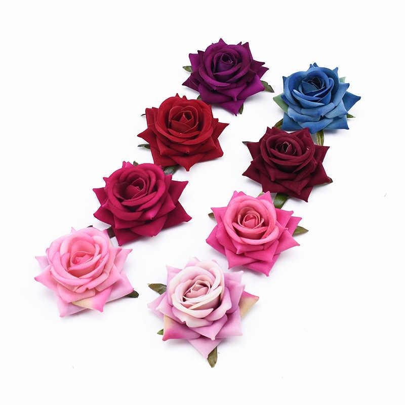 7 سنتيمتر الزهور الاصطناعية diy الهدايا مربع عيد الميلاد الحرف الزفاف الزخرفية الزهور ديكور حوائط المنزل الفانيلا الورود رئيس العروس بروش