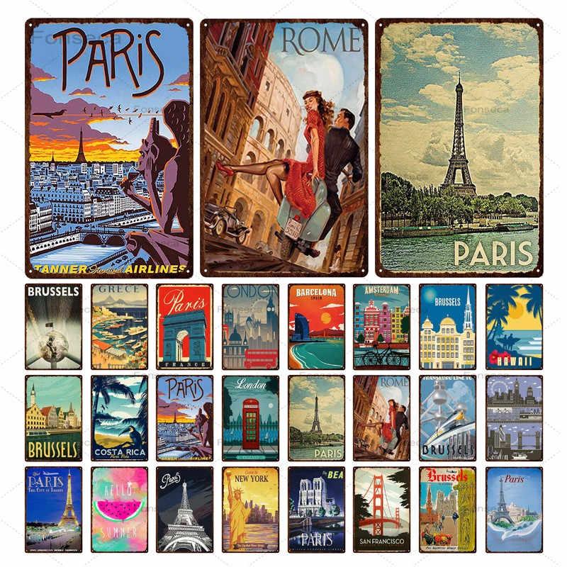 Paris par Clipper Plaque Rétro Art Imprimé Metal Signe Vintage signe étain