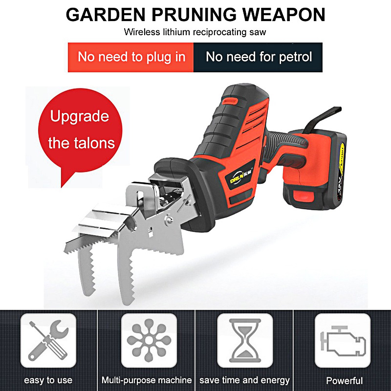 Hand Electric Saw Reciprocating Saw Tools Wood Metal Cutting Machine Multifunction DIY Cordless Power Tool LED with 6pcs Blades in Electric Saws from Tools