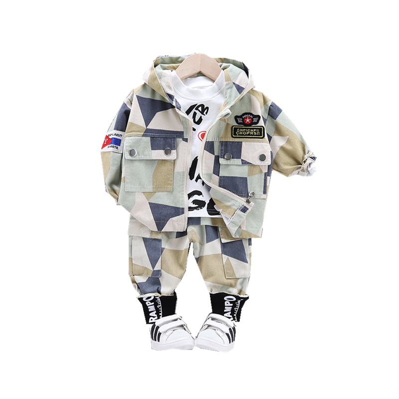 Baby Boy Out Clothes Spring Autumn Children Letter T Shirts Hooded Pants 3Pcs/sets Infant Outfit Kids Fashion Toddler Tracksuits