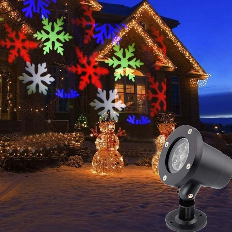 Outdoor Light Color Snowflake  Christmas Decoration LED Snowflake Projector Light  Waterproof Landscape Lamp