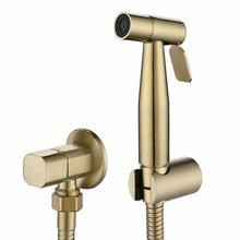 Hand Held Toilet Bidet Sprayer Brushed Gold Stainless Steel Bidet Jet Douche Kit Shattaf Faucet Toilet Washer Cleaning BG909
