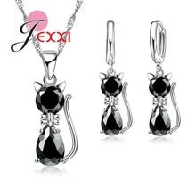 HOT New Arrivals Genuine 925 Sterling Silver Shiny Cubic Zirconia Cat Kitty Necklace Pendant Hoop Earrings Fast Shipping