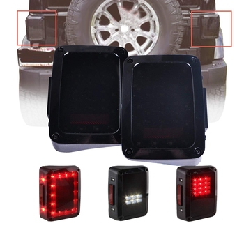 For Jeep Wrangler JK 2007-2018 2Pcs Smoked Tail Lights LED Brake Reverse Light Rear Back Up Lights Suitable for US Vehicles