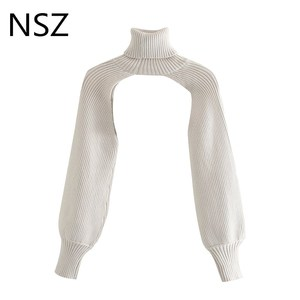 NSZ women high neck ribbed lantern sleeve knitted sleeve