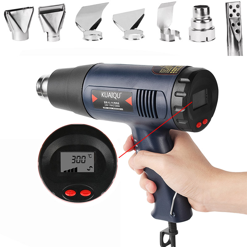 Hot Air Gun 866 1800W Variable 2 Temperatures Hot Air Blower 220V Hand-held Heat Gun With Seven Nozzle Attachments Power Tool