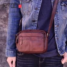 AETOO Fashion Business Soft Genuine Leather Men Messenger Bags Chest Trip Small Crossbody Shoulder Bag Male Handbag Mini