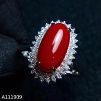 KJJEAXCMY boutique jewelry 925 sterling silver inlaid Natural red coral Ring Women's Fine Ring Support detection luxurious
