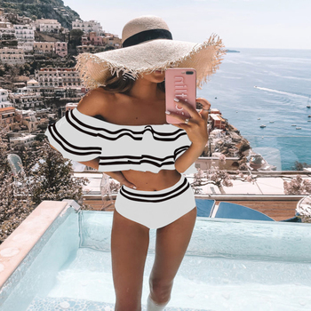 2Pcs Bikini Set 2020 Women Bikini Off Shoulder Ladies Bikini Set Push Up Padded Bathing Suit Stripe Swimsuit Ruffles Beachwear black off the shoulder strappy bikini set