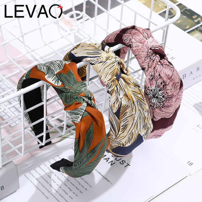 Levao Colorful Printing Hairband Knotted Cloth Headband Retro Wide Head Hoop Bohemian Stripe Women Hair Bezel Hair Accessories