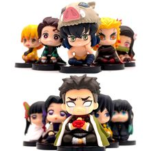 5pcs/set Demon Slayer : Kimetsu No Yaiba Nezuko Zenitsu Tanjirou Giyuu Inosuke Kyoujurou Action Figure Model Cake Figurine
