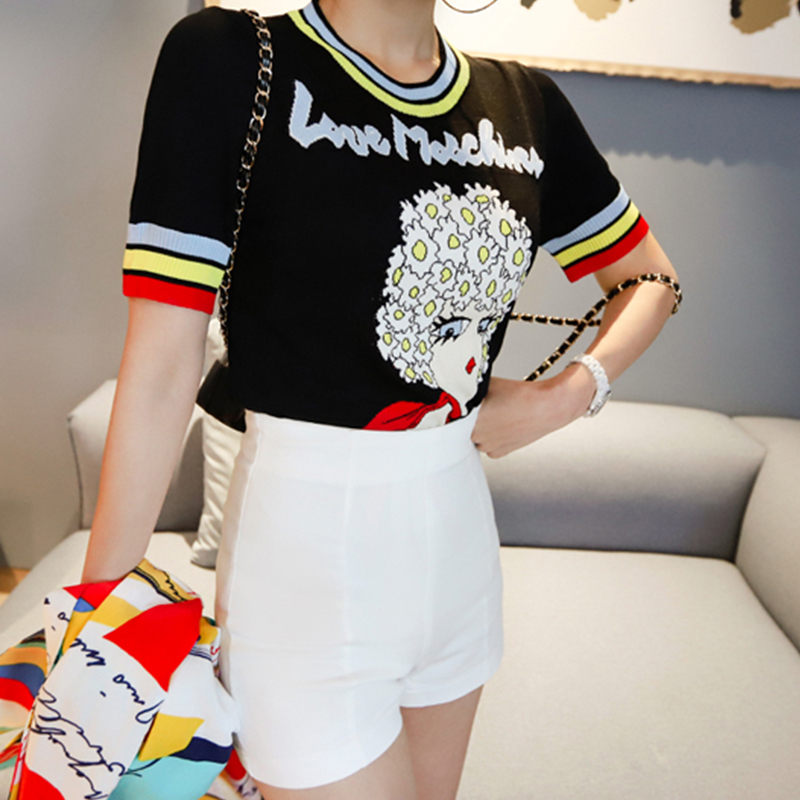Top SaleSweater Jumper Pullover Short-Sleeve Tops Jacquard Letters Knitted Striped Women Summer